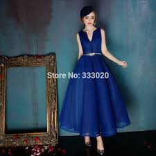 aliexpress com buy 1950s vintage ball gown royal blue tea length