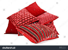 Red Bed Cushions Red Cushions Stacked On White Background Stock Photo 73937620