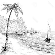 hd sea beach boat and palm tree vector sketch stock black white