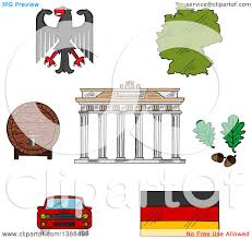 clipart of sketched german icons with map and flag eagle emblem