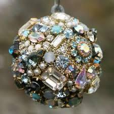 vintage rhinestones orb sphere ornament blues pearls clear