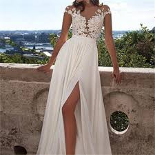 white lace prom dress a line white lace prom dress with appliques side slit