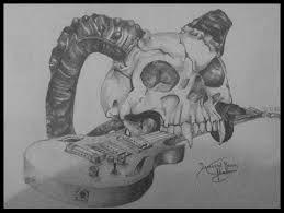 skull guitar sketch best designs