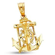 design necklace charm images Jesus anchor crucifix pendant solid 14k yellow gold jpg