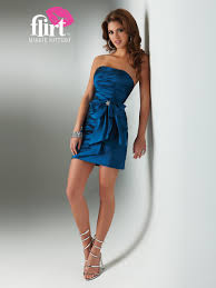 flirty strapless royal blue short sheath silky satin cocktail