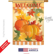 Monogram House Flags Welcome Fall Pumpkins House Flag U0026 More Garden Flags At