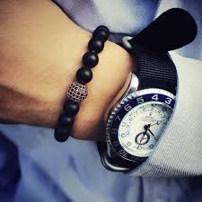 black onyx beads bracelet images Natural stone matte black onyx beads bracelets for men with black jpg