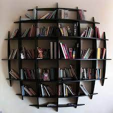 interior wonderful dark round bookshelves design with nice modern
