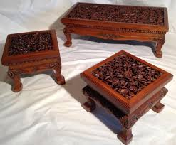 Asian Coffee Tables by Vintage Thai Oriental Asian Solid Teak Hand Carved Coffee Table