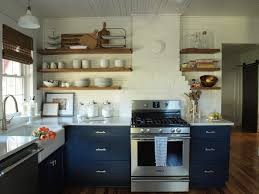 navy kitchen cabinets with open shelving organize pinterest