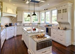 kitchen style cottage pendant lamps over long kitchen island on