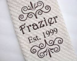 wedding gift kitchen anniversary towels etsy