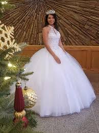 quinceanera dresses white gown halter white tulle quinceanera dress with beading keyhole