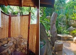 Simple Outdoor Showers - simple outdoor shower design with tiling and stone flooring