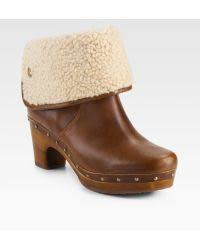 womens ugg lynnea boots ugg lynnea clog shearlinglined ankle boots in brown lyst