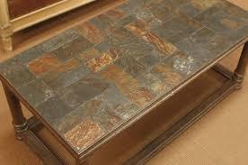 Slate Top Coffee Table French Vintage Slate Ardoise Mosaic Coffee Table With Metal Base