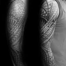 black and grey ink shaded arm sleeve tribal guys