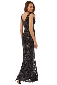 goddiva dresses goddiva v neck sequin fishtail maxi dress tiqqette collection