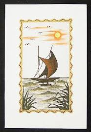hand painted greeting card stilt fishing in sri lanka greeting