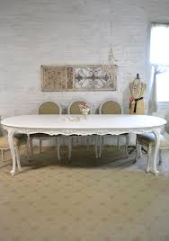 furniture large white wooden oval dining table with carved plus
