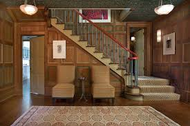 Dark Wood Banister Tudor Staircase With Carpet Traditional And Contemporary Baskets