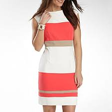 studio 1 colorblocked sheath dress tan white coral 40 from