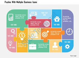 design logo ppt puzzles with multiple business icons flat powerpoint design slide01