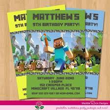 free printable birthday invitations minecraft free printable minecraft birthday invitations cakepins com party