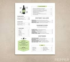 Backyard Restaurant Menu Custom Restaurant Menu Printable Pdf Diner Pub Coffee Shop