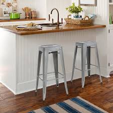 bar stools blue kitchen cabinets brown faux leather bar stool