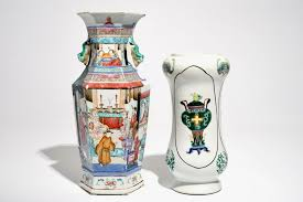 Vase Shaped Jug A Chinese Hexagonal Famille Rose Vase And An Albarello Shaped