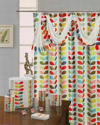 leaf multi design fabric shower curtain with scarf 70x72