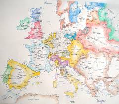 A Map Of Europe I Watercolored A Map Of Europe In 1560 Oc 2498 2183 Mapporn