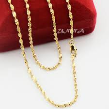 gold necklace womens images 2mm 22k yellow gold filled link chain wave necklace twisted for jpg