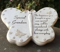 memorial for special grandson butterfly shaped grave ornament