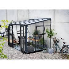 verre pour veranda véranda 6 6m en aluminium laqué anthracite et verre trempé 3mm