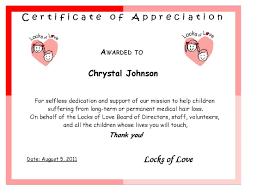 locks of love certificate of appreciation happy mothering