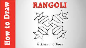 how to draw rangoli using 6 dots 6 rows youtube
