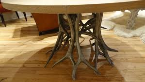 woodland oak and faux antler dining table mecox gardens