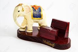thai elephant color white resin for input card home decor thai
