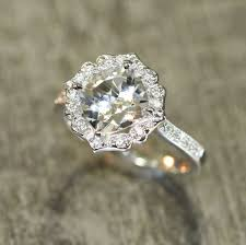 white topaz engagement ring vintage floral white topaz diamond engagement ring by lamoredesign