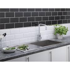 Grey Metro Bathroom Tiles Metro Wall Tiles Black 200 X 100mm 25 Pack At Homebase Co Uk
