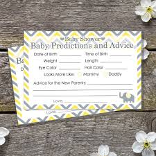 yellow and gray elephant baby advice and predictions cards set of