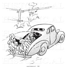 cartoon car black and white historical vector illustration of a cartoon people riding in the