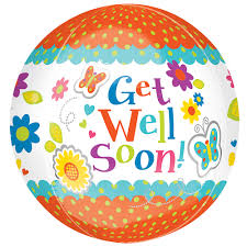 balloons get well soon 16 get well soon floral orbz foil balloon
