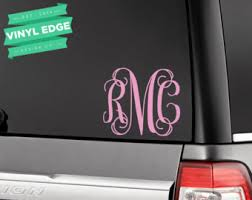 monogram car decal etsy