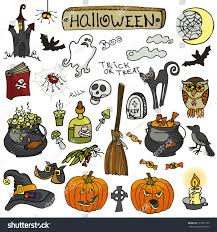 halloween party iconsdoodle hand drawing witch stock vector