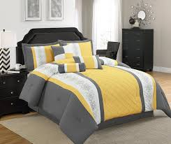 Striped Comforter Amazon Com Legacy Decor 7 Pc Grey Yellow And White Striped