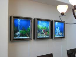 modern wall mounted aquarium design with frame photos