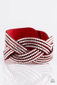 red wrap bracelet images Paparazzi quot big city shimmer quot red suede white rhinestone wrap jpg